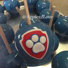 Paw Patrol inspired candy apples! #candyapples #apples2love #customcandyapples #customtreats #pawpatrol