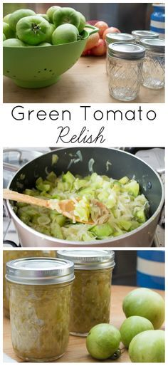 {Green Tomato Relish} Easy way to use up green tomatoes Relish Recipes, Canning Recipes, Veggie Recipes, Green Tomato Relish, Green Tomatoes, Canning Vegetables, Farmers Market Recipes, Easy Summer Meals, Fruits And Veggies