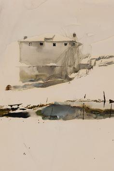 "Andrew Wyeth, Farm Pond (study for tempera ""Brown Swiss"") | Reynolda House Museum of American Art"