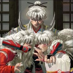 Inu no Taisho, Inuyasha and Sesshomaru. Just the occasional sibling rivalry in the domain of the great dog demon Sesshomaru Y Rin, Inuyasha Fan Art, Inuyasha And Sesshomaru, Kagome And Inuyasha, Manga Art, Manga Anime, Anime Art, Anime Love, Anime Guys