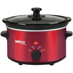 Nesco(r) 1.5-quart Oval Slow Cooker (metallic Red) 1.5qt Capacity Removable Ceramic Pot Tempered Glass Lid Stay Cool Handles 3 Heat Settings Metallic Red #mycustommade