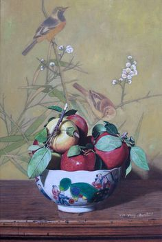 """Yin Yong Chun, Apples and Leaves, 2013, oil on canvas, 21 x 14"""" at William Baczek Fine Arts www.wbfinearts.com"""