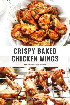This best crispy baked chicken wings recipe will help you make delicious wings without the grease. Make them for an easy dinner tonight or a game-day snack! This best crispy baked chicken wings reci Best Gluten Free Recipes, Whole 30 Recipes, Paleo Recipes, Snack Recipes, Crispy Baked Chicken Wings, Gluten Free Lasagna, Appetizer Recipes, Healthy Appetizers, Chicken Wing Recipes