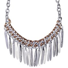 Woven Leather Stick Fringe Bib Necklace    Hand-sculpted metal sticks dangling from a brown leather woven curb chain with c+i signature toggle closure.