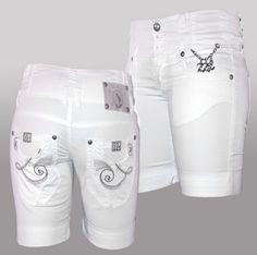 Short Bermuda Donna Pantaloni corti Bianco Cotone elasticizzato Tg. 27