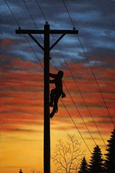 Sunset On Lineman - Sue you should paint this! Lineman Love, Power Lineman, Lineman For The County, Lineman Tattoo, Electrical Lineman, Journeyman Lineman, Energy Providers, Tumbler Designs, Telephone