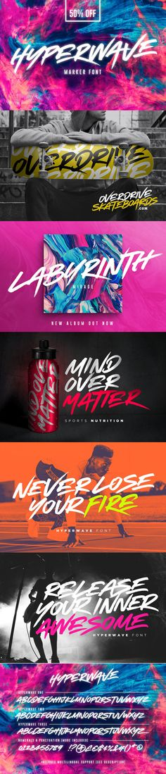 Crank up the intensity with HYPERWAVE! An energetic set of brush #fonts with a sharp attitude. HYPERWAVE is ready and raring to make a big statement on your #logo designs, brand imagery, #handwritten #quotes, product #packaging, #merchandise, music projects & social media posts. ( #typography #graffiti #creative #inspiration #branding )