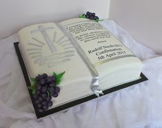 Design was brought in by client, by unknown cake artist. Beautiful Birthday Cakes, Beautiful Cakes, Amazing Cakes, Boys First Communion, First Communion Cakes, Open Book Cakes, Bible Cake, Religious Cakes, Cake Pops
