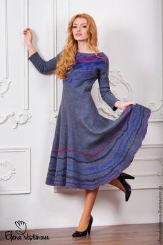 """Уютно и женственно. Валяное платье """"Elegant gray"""" — работа дня на Ярмарке Мастеров"""