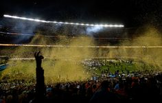 . Confetti shoots out over the field after the Broncos defeated the Panthers 24 to 10 in Super Bowl 50.  The Denver Broncos played the Carolina Panthers in Super Bowl 50 at Levi\'s Stadium in Santa Clara, Calif. on February 7, 2016. (Photo by John Leyba/The Denver Post)