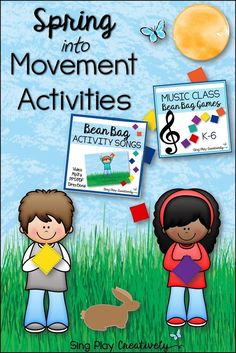 Spring is here and students need movement activities. Bean Bag Games for Brain Breaks, PE, Special Needs, Drama, Reward Days, Class Parties for all classrooms K-6. Music Class Bean Bag Games for assessment and fun! Creative and Inspiring educational resources. Sing Play Creatively LLC. https://www.teacherspayteachers.com/Product/Bean-Bag-Activity-Songs-with-Mp3-Video-and-Power-Point-for-Pre-K-4-1106466