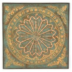 Antique Turquoise Floral Wall Plaque