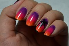 Sunset palm Tree Nailsss :)