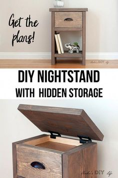 Hidden storage in this DIY bedside night table is perfect! Step by step how to video tutorial including woodworking plans! Hidden storage in this DIY bedside night table is perfect! Step by step how to video tutorial including woodworking plans! Beginner Woodworking Projects, Diy Woodworking, Woodworking Nightstand, Woodworking Classes, Woodworking Techniques, Woodworking Equipment, Woodworking Supplies, Woodworking Fasteners, Woodworking Chisels