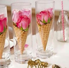 Clever! Ice cream shop party. Roses or other flowers in a waffle cone nestled in a clear glass or small vase.