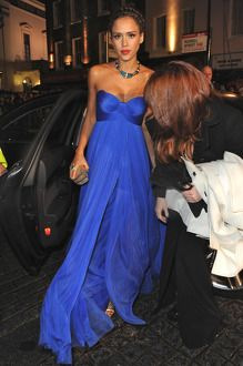 Loving Jessica Alba in this cobalt blue dress!