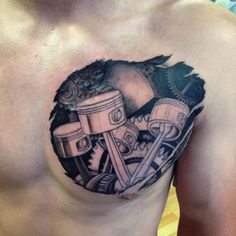 Innovative Biomechanical Tattoos for Men - Best Tattoos For Men - Tatoo Ideen Winter Tattoo, Biomechanical Tattoos, Tattoo Designs And Meanings, Tattoos With Meaning, Piston Tattoo, Gas Mask Tattoo, Bio Organic Tattoo, Skull Rose Tattoos, Full Tattoo