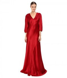 Alberta Ferretti - 3/4 Sleeve V-Neck Satin Gown (Ruby) Women's Dress