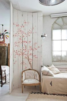 love this idea to paint on wood to create a magical room divider, create 4 wooden frames with a brace in the middle then nail you boards in a staggered pattern onto the frames, you want your boards to end exactly where the frame does to ensure easy closing. Then attach together with european hinges. This gives your a solid surface to paint. #diy