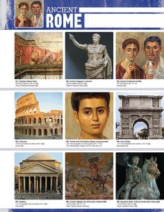 This front and back note sheet, featuring full-color images and formatted notes, is designed specifically for binders. Art History Timeline, Art History Lessons, Ancient Rome, Ancient Art, Ancient Greece, Classe D'art, Art Assignments, Empire Romain, Ecole Art