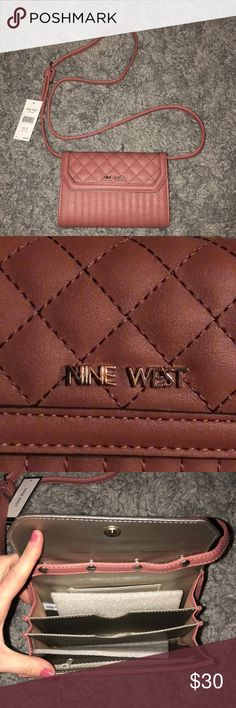 Nine West Crossbody Brand new! Never used. Still has tags I have an iphone 8+ and my phone fits. Has 4 card slots Nine West Accessories