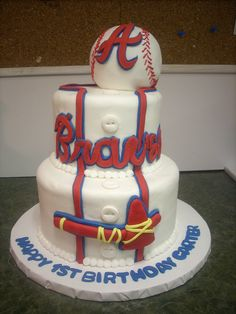 Brave's Uniform and Baseball Cake, by www.LuLusSweetExpectations.com.  Cake covered in buttercream with fondant accents, ball is also cake covered in white fondant.