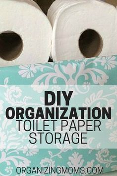 Easy DIY organization project that doesn't cost any money to make! Use stuff you have on hand to make a pretty storage container for toilet paper. Could also be used for storing different types of items.