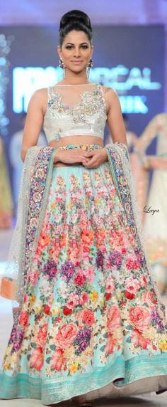 Colorful lovely #designer #lehengacholi with net sky blue dupatta.