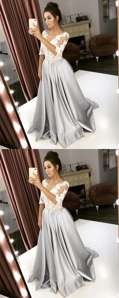 silver wedding dress with lace sleeves Bridesmaid Dresses Online, Bridal Dresses, Lace Sleeves, Dresses With Sleeves, Wedding Dress With Pockets, Elegant Wedding Dress, Lace Dress, Stage Outfits, Silver