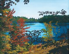 Colorful painting of a scenic view in the Adirondacks. Floodwood is a beautiful lake in the Fall! Nice Camp scene with autumn colors. Giclee print $38