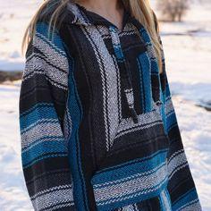 Mexican Threads Baja Drug Rug Hoodie Pullover Sweatshirt | Baja Jacket Poncho | Hippie Boho Gypsy- New Turquoise