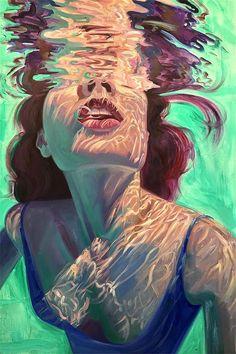 Kunst Isabel Emrich paints dazzling depictions of women submerged underwater. Art Inspo, Pop Art, Underwater Painting, Breathing Underwater, Painting Art, Heart Painting, Painting Of Girl, Underwater Photos, Oil Paintings