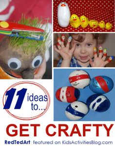 11 crafts for kids to create using recycled items.