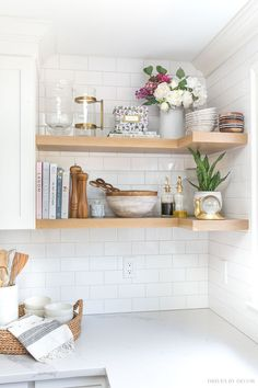 Five Favorite Fall Essentials Faux hydrangeas that look real! Love them in a pitcher on this open kitchen shelving!Faux hydrangeas that look real! Love them in a pitcher on this open kitchen shelving! Home Decor Kitchen, Interior Design Kitchen, Home Kitchens, Kitchen Furniture, Farmhouse Interior, Modern Farmhouse, Rustic Kitchens, Small Kitchens, Apartment Kitchen