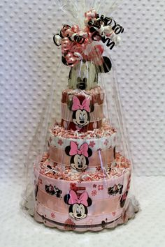 Baby Diaper Cake Minnie Mouse with Handmade by Diannasdiapercakes