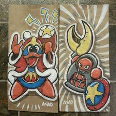 20130108 #sonicthehedgehog and #kirby #sketch lunch bags for my sons. #crawl #kingdedede #art #anad #doodle #videogames #school