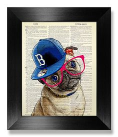 PUG Art Print Pug PRINT Pug Decor Pug Wall Art Pug by MEOWconcept