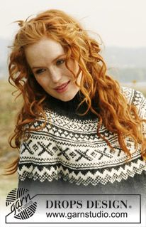 """Knitted DROPS jumper with round yoke and Norwegian pattern in """"Karisma"""". Free pattern by DROPS Design. Knitting Patterns Free, Knit Patterns, Free Knitting, Free Pattern, Drops Design, Magazine Drops, Knit Crochet, Jumper, Couture"""