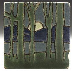 "Grueby. Full Moon Rising Behind Mountains. Boston, Massachusetts. Early 20th Century.4"" x 4""."