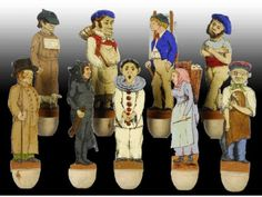 French Wood Antique Toy Skittles