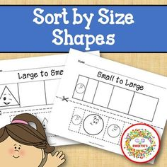Sort by Size Activity Sheets - Color, Cut, and Paste - Happy Shapes Theme