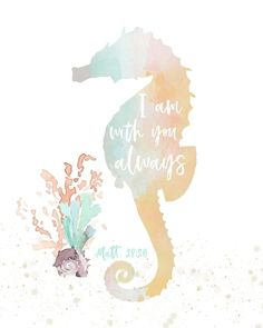 Add some salty tang to your nursery walls with this adorable seahorse print featuring a beautiful promise from Matthew 28. This fun and fresh print will make the perfect addition to your little girl's coastal beach nursery! Coastal Nursery, Matthew 28, Horse Print, Beach House Decor, Unique Colors, Daffodils, Girl Nursery, Baby Shower Gifts, Bible Verses