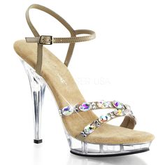 Ankle strap sandal featuring rhinestone embellishment on toe straps, side buckle closure, open toe, clear platform and heel, and smooth lining. 5 inch heels and inch platforms. Strappy Heels, Ankle Strap Sandals, Stiletto Heels, Shoes Heels, Nude Heels, Ankle Straps, Stilettos, Taupe Sandals, Sexy Sandals