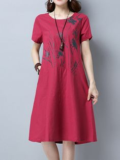 Women Printed Short Sleeve O-Neck Vintage Summer Dresses