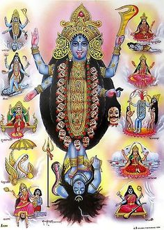 Kali Ma é uma deusa hindu de dupla personalidade, exibindo traços tanto de amor e delicadeza quanto de vingança e morte terrível.