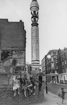 Youngsters play on the corner of Great Titchfield Street and Clipstone Street in front of the Post Office Tower, later the BT Tower, in 1965 / LONDON London Pictures, London Photos, Old Pictures, Old Photos, London History, British History, Uk History, History Photos, Vintage London