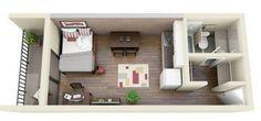 Plano de monoambiente de 25 m2