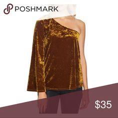 c623b414e86 STATE Brown Crushed Velvet One Shoulder Top New never worn one shoulder top  with Bell Sleeve. Brown mustard color. Size small. More pictures soon. 1.