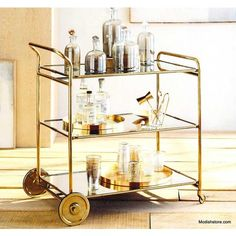 Florin Brass Bar Cart design by Roost Diy Bar Cart, Bar Cart Styling, Bar Cart Decor, Bar Carts, Bar Trolley, Food Carts, Brass Bar Cart, Gold Bar Cart, Home Bar Decor