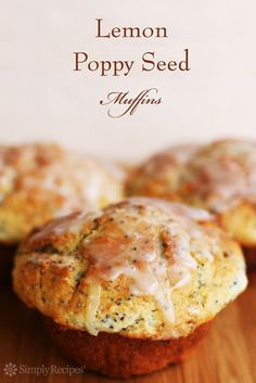 Lemon Poppy Seed Muffins ~ Perfect poppy seed muffins with lemon zest and a sugar lemon glaze. ~ SimplyRecipes.com